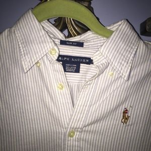 NWOT Blue and White Striped Polo